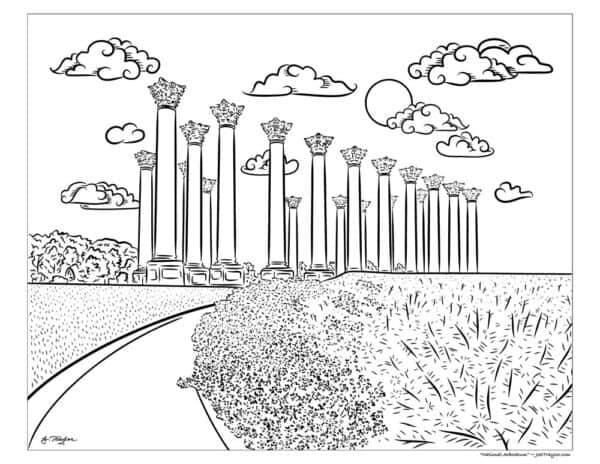 National arboretum coloring page